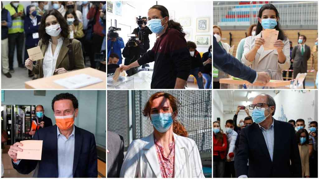 Los candidatos a la presidencia de la Comunidad de Madrid este martes 4 de mayo.