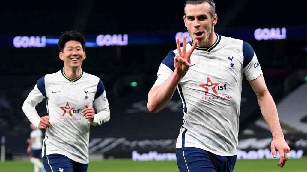 Gareth Bale celebra su hat-trick con el Tottenham
