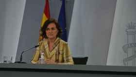 La vicepresidenta primera, Carmen Calvo, en la rueda de prensa posterior al Consejo de Ministros.