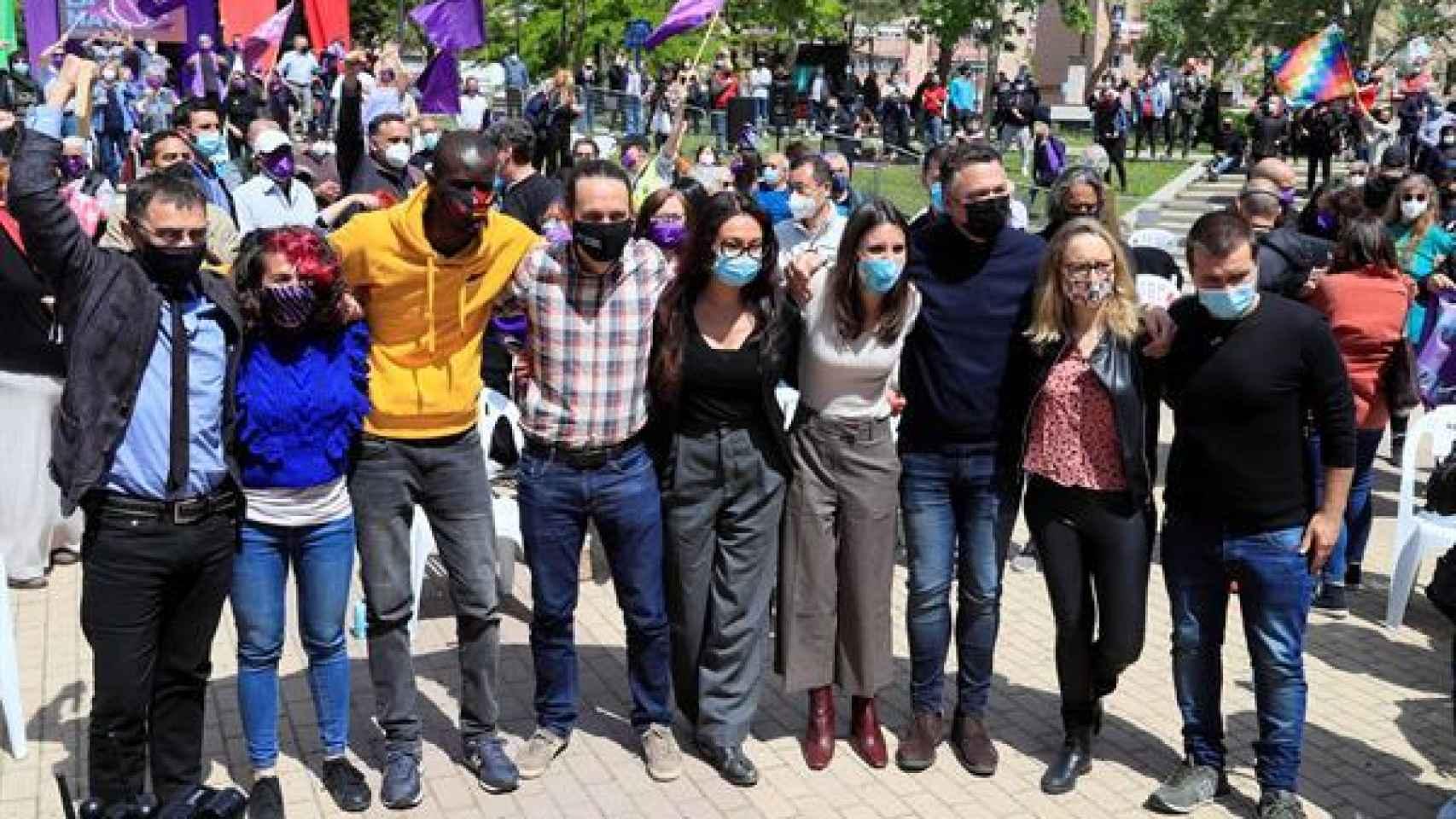Acto electoral de Unidas Podemos en el Parque de Olof Palme (Madrid) con los primeros de su lista electoral.