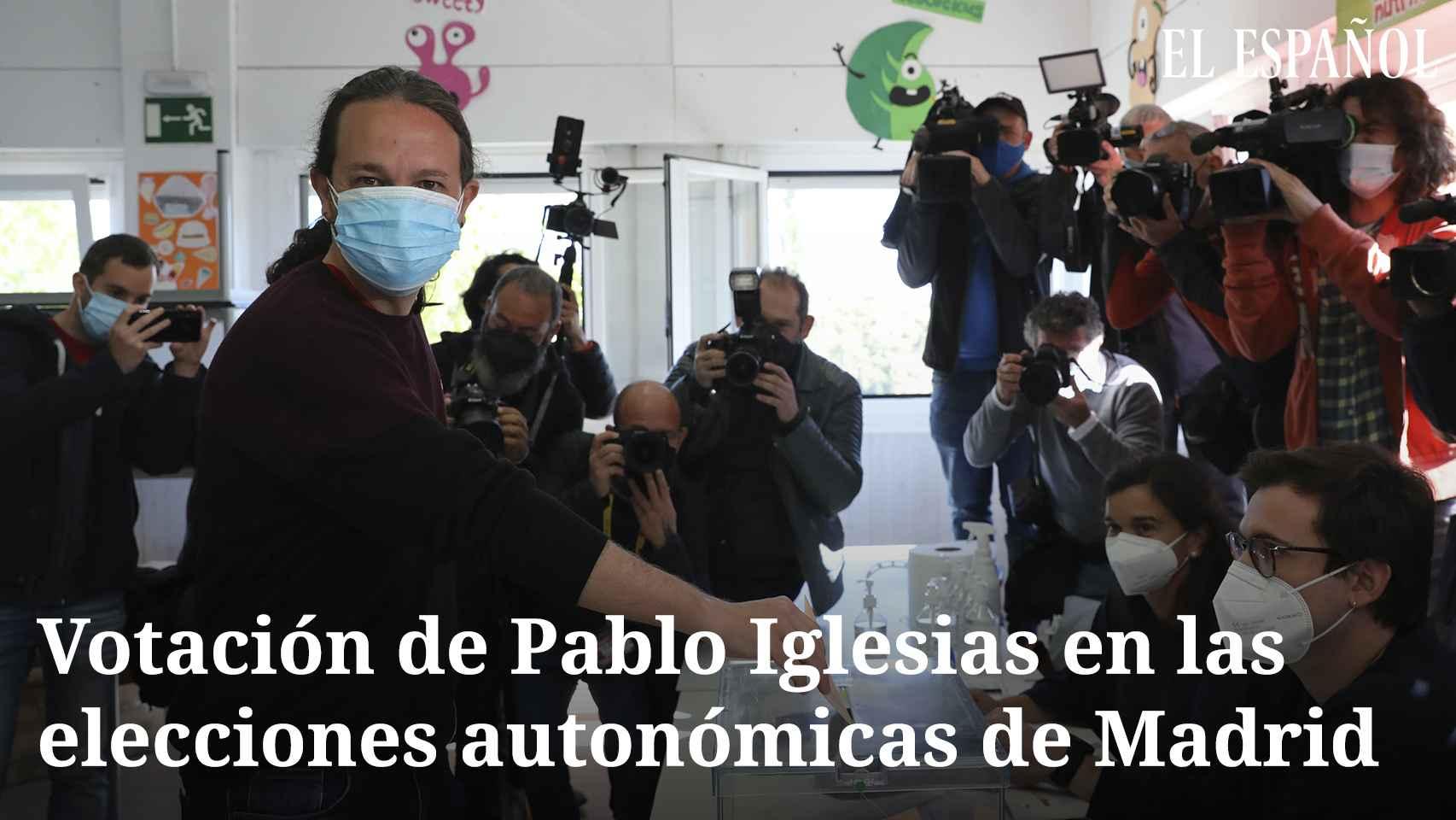 Pablo Iglesias tras votar el 4M confía en la victoria de la izquierda