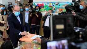 Ángel Gabilondo, candidato del PSOE, vota en su colegio electoral.