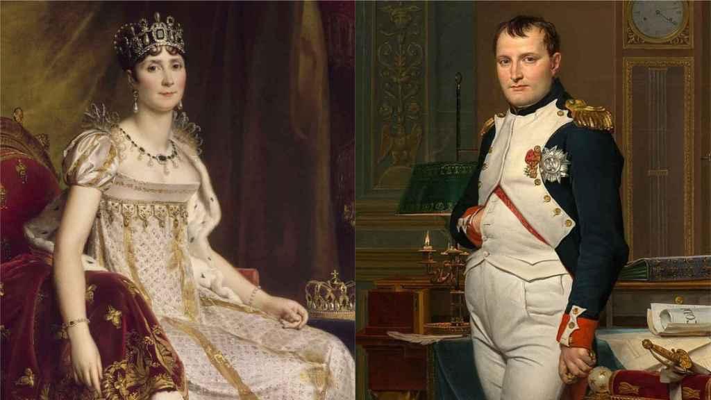 Retratos de Josefina y Napoleón Bonaparte.