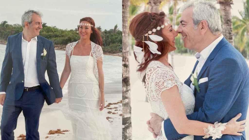 Las dos imágenes con las que la pareja ha celebrado su aniversario de boda en las redes sociales.