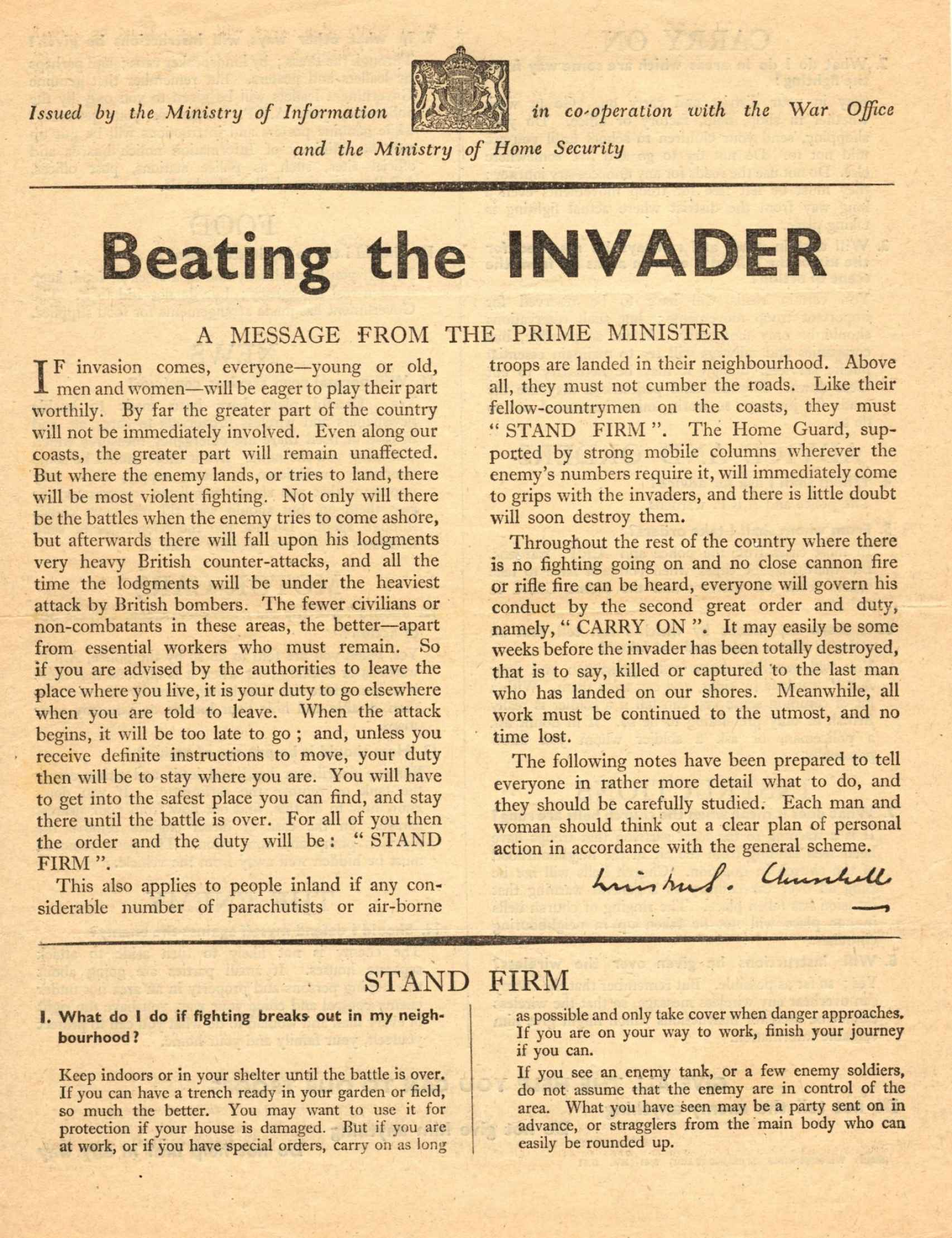 Folleto 'Beating the invader'.