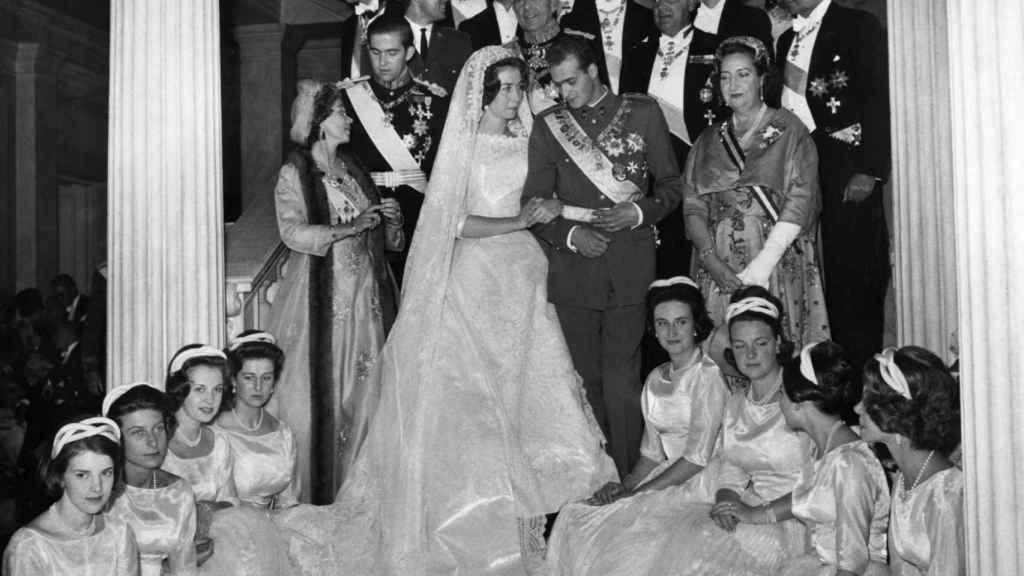 Sofía de Grecia y Juan Carlos de Borbón, el día de su boda en 1962.