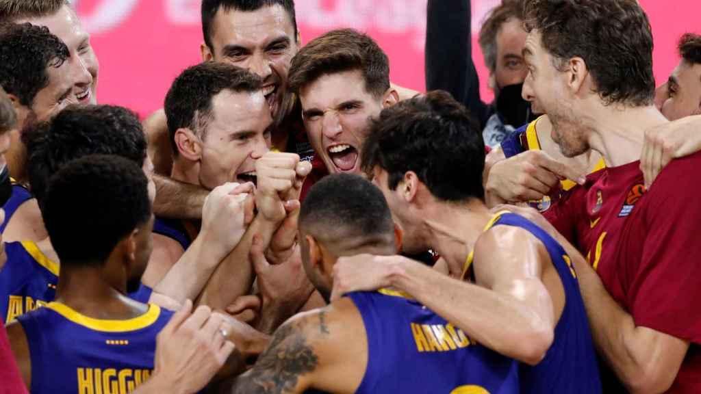 El Barcelona celebra su clasificación para la Final Four de Euroliga