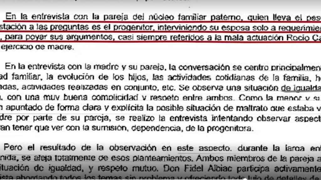 El informe en el que se habla del papel de Olga Moreno en contra de Rocío Carrasco.