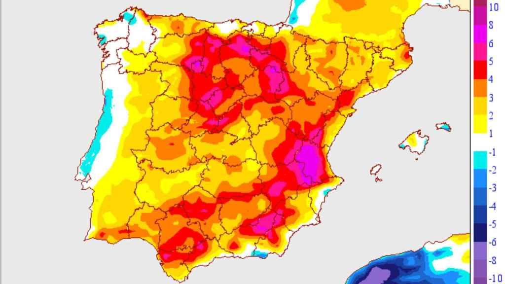 Variaciones de temperaturas en la primera semana de mayo. AEMET.