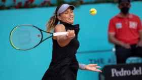 Paula Badosa durante un partido en el Mutua Madrid Open de 2021