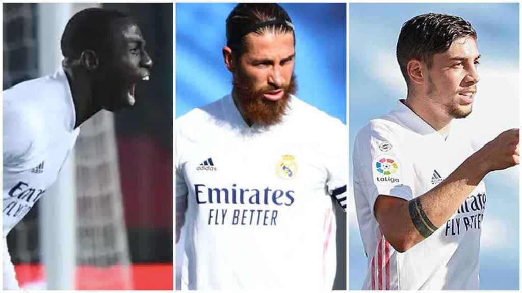 Ferland Mendy, Sergio Ramos y Fede Valverde