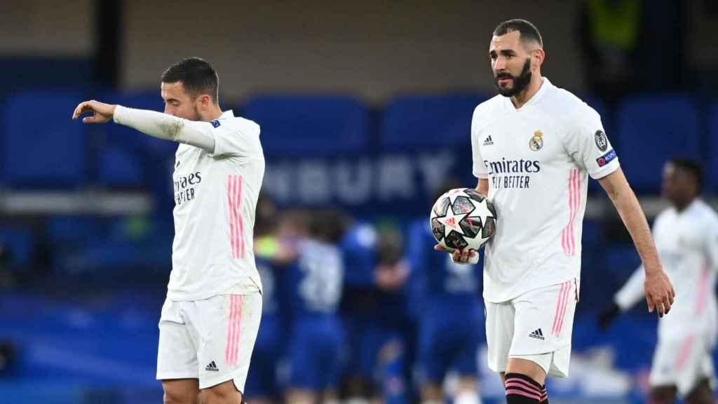 Hazard y Benzema, tras el gol de Timo Werner