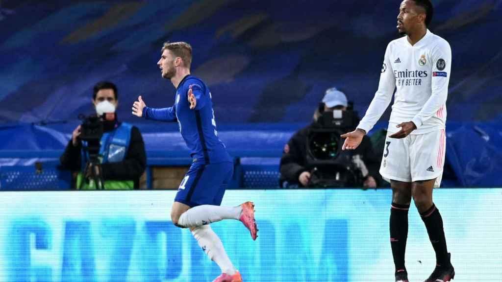 Timo Werner celebra su gol al Real Madrid