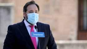 Paco Núñez, este miércoles a las puertas de las Cortes de Castilla-La Mancha
