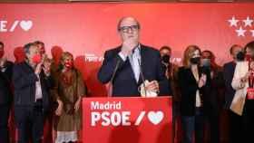 El candidato del PSOE a la Presidencia de la Comunidad de Madrid, Angel Gabilondo, ofrece una rueda de prensa tras las votaciones  del 4-M.