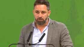 Santiago Abascal, en rueda de prensa en la sede de Vox.