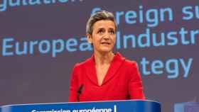 La vicepresidenta de la Comisión, Margrethe Vestager, durante la rueda de prensa de este miércoles