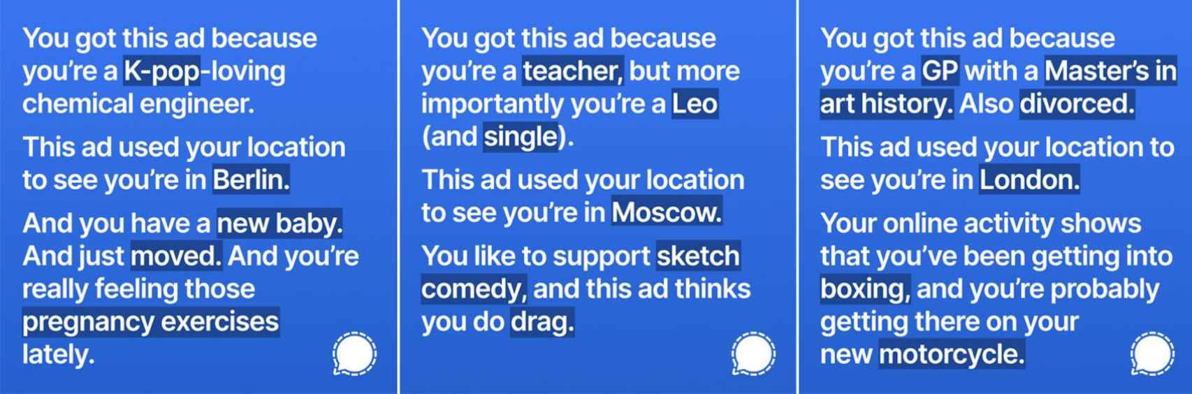 Ejemplos de anuncios creados por Signal