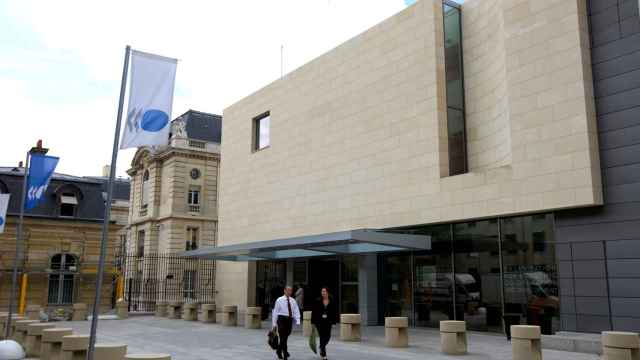 FILE PHOTO: Outside view of the Organization for Economic Co-operation and Development, (OECD) headquarters in Paris