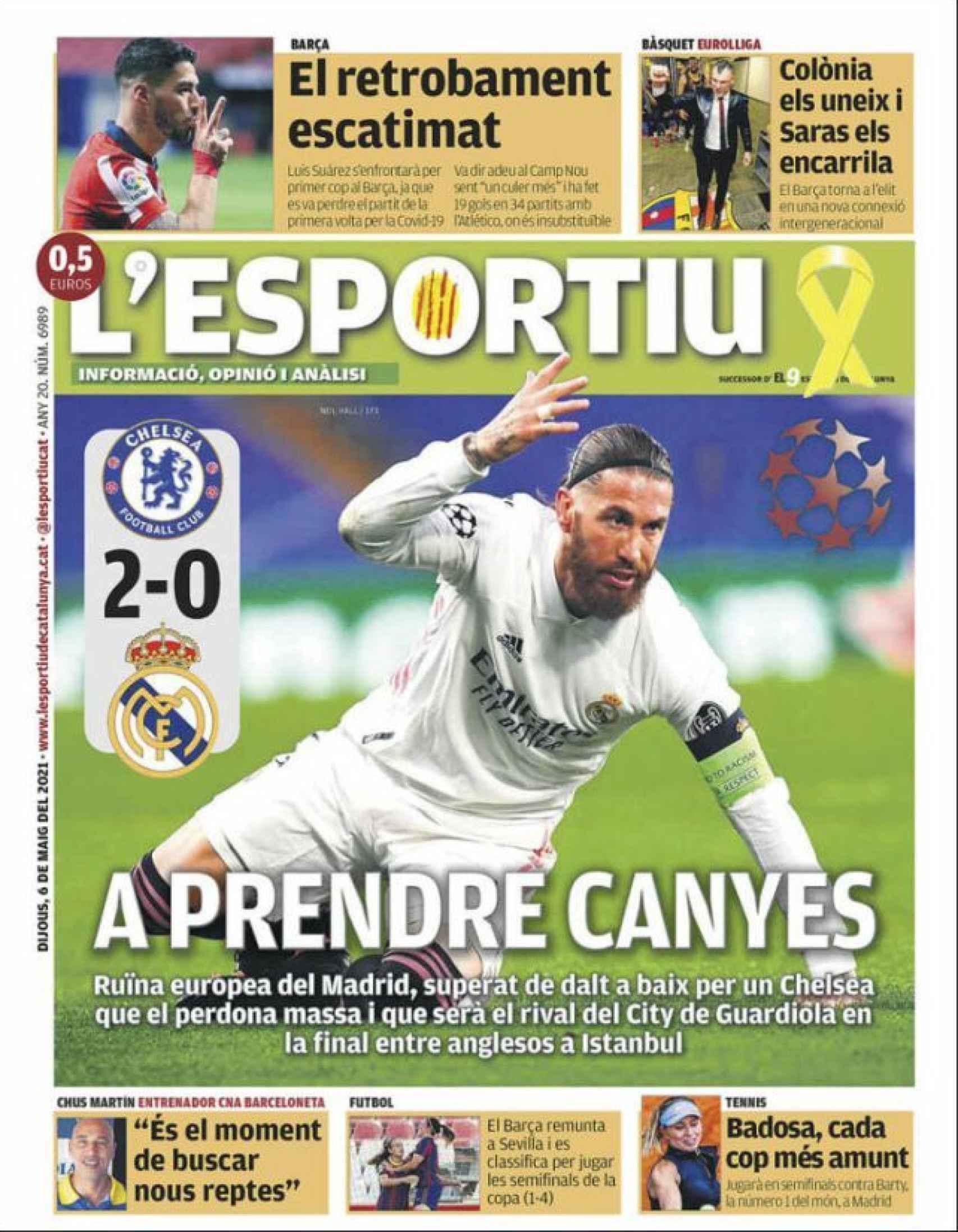La portada del diario L'Esportiu