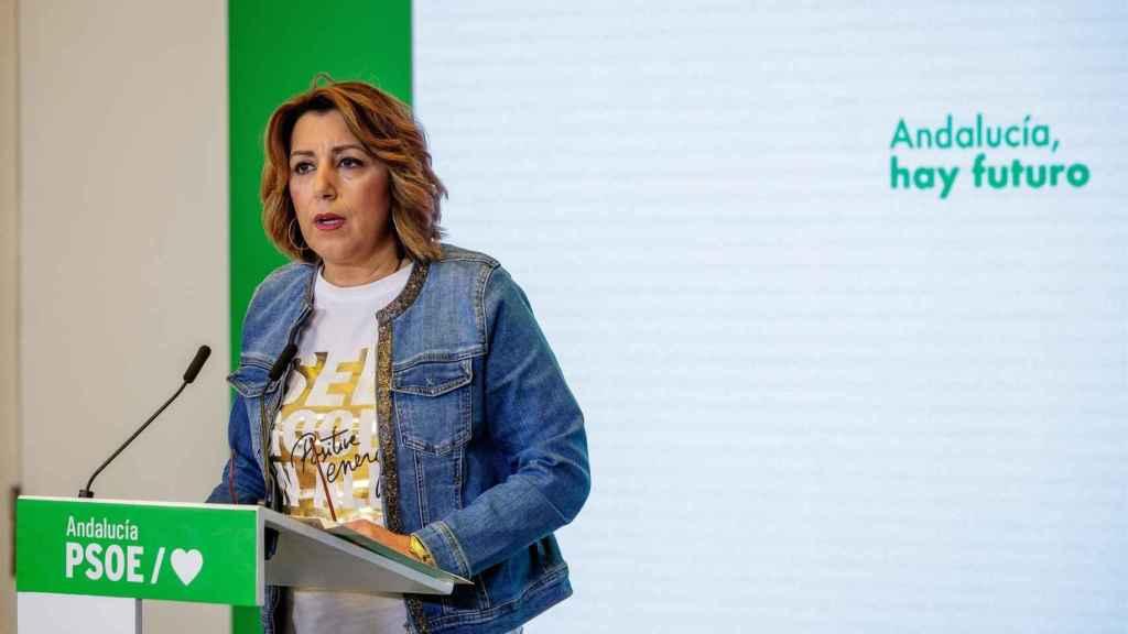 La secretaria general del PSOE andaluz, Susana Díaz, durante la rueda de prensa de este jueves.
