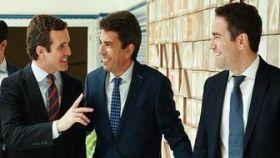 Pablo Casado, Carlos Mazón y Teodoro García Egea.