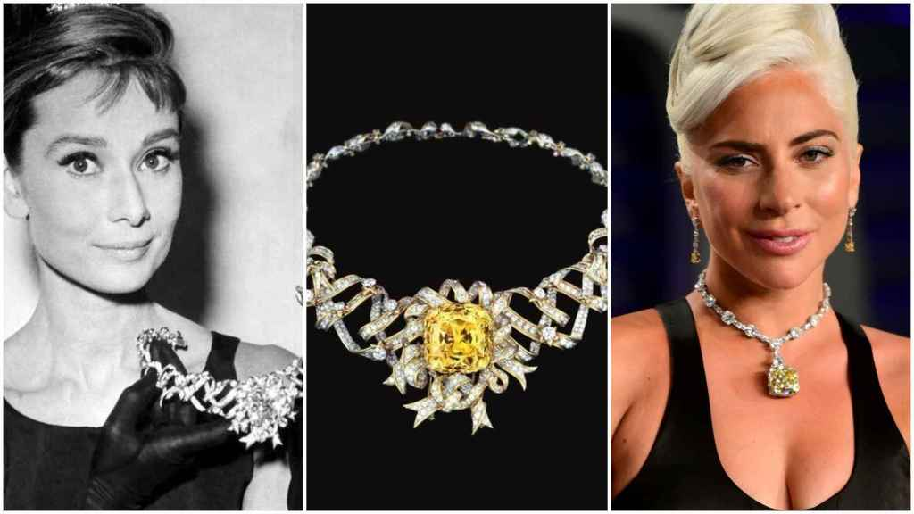 Audrey Hepburn y Lady Gaga con el Tiffany Yellow Diamond.