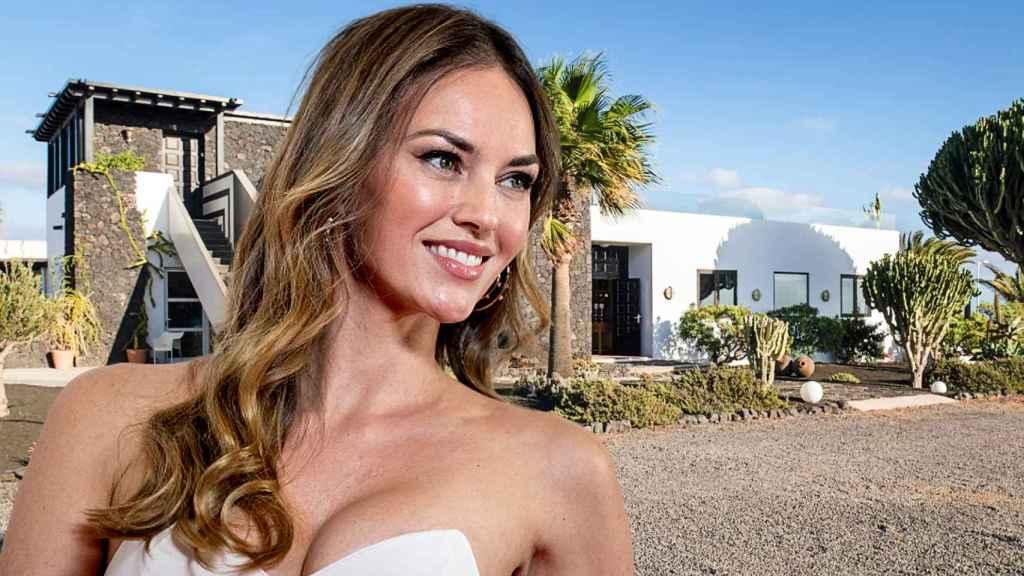 Helen Lindes y la lujosa mansión en la que se aloja Lanzarote, en un montaje de Jaleos.
