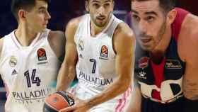 Gabriel Deck, Facundo Campazzo y Luca Vildoza, en un fotomontaje