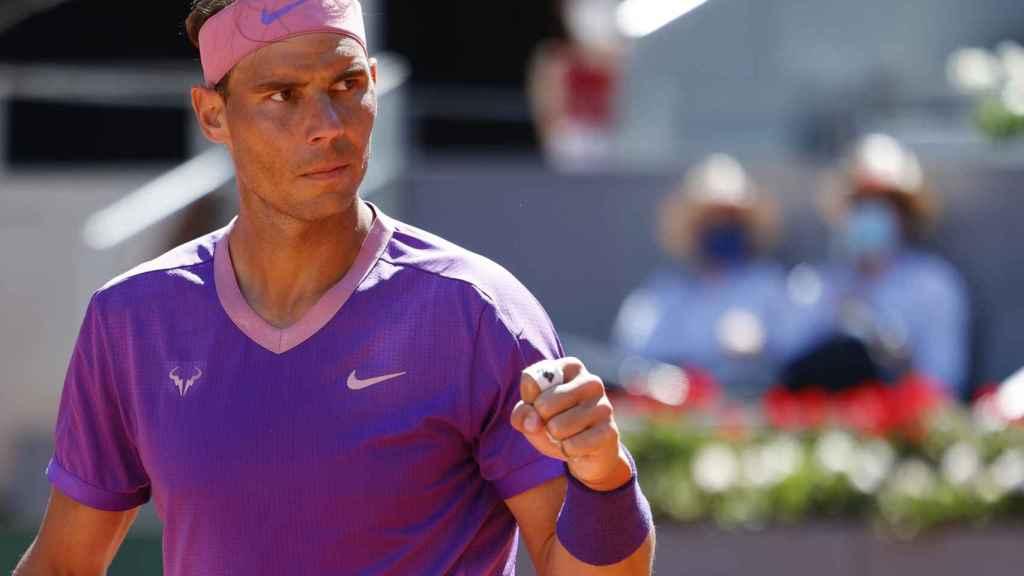 Rafa Nadal celebra su triunfo contra Alexei Popyrin