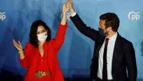 La presidenta de la Comunidad de Madrid, Isabel Díaz Ayuso, junto al líder del PP; Pablo Casado. Efe