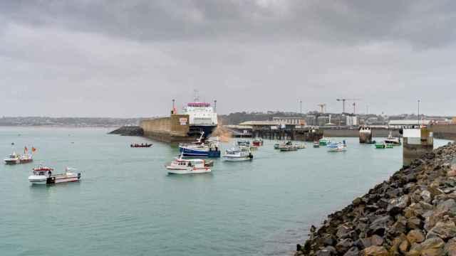 Los pesqueros franceses en protesta.