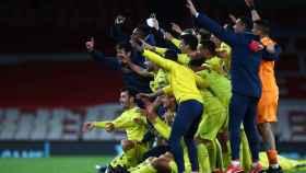 Celebraciónd el Villarreal tras conseguir el pase a la final