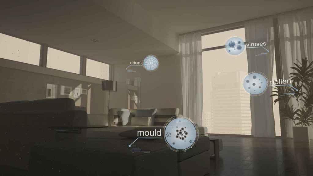 Simulación de radicales hidroxilo atrapando virus, polen y bacterias