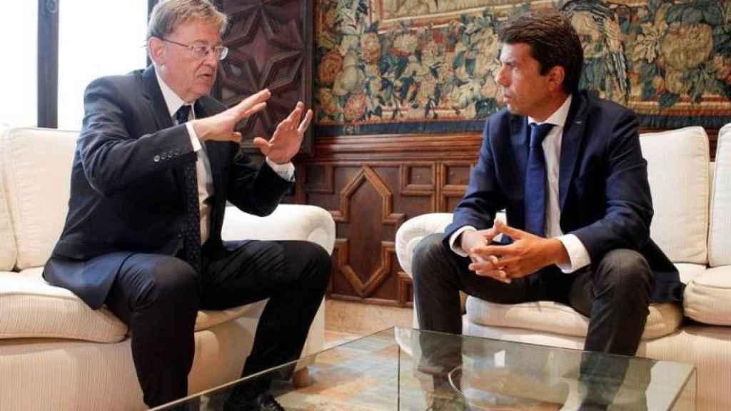 Entrevista de Mazón con Puig en el Palau de la Generalitat.