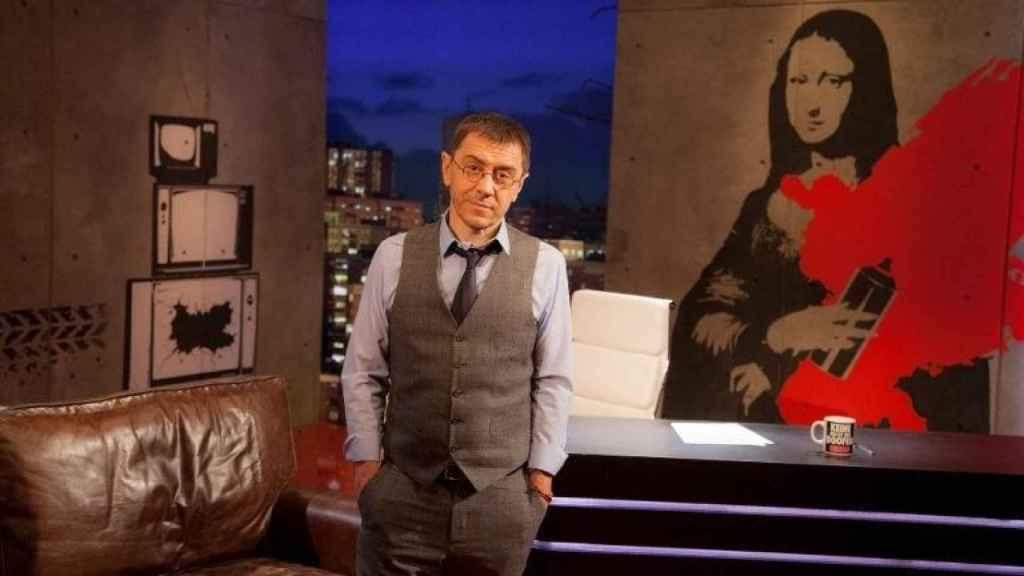 Juan Carlos Monedero en el set de 'En la frontera'.