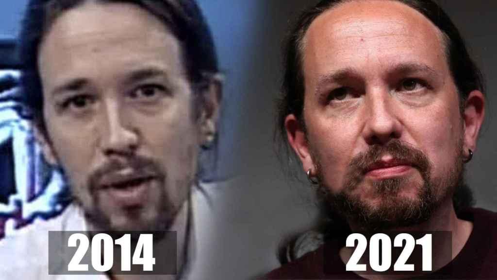 Pablo Iglesias, antes y ahora, en un fotomontaje.