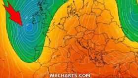 La situación de la borrasca y las bajas presiones a partir del domingo. WXCHARTS.com