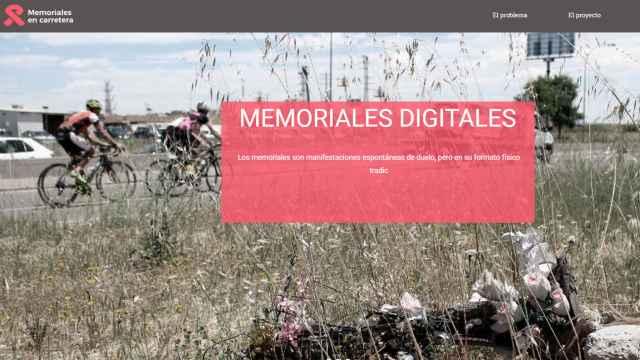 Captura de pantalla de la web memorialesencarretera.es.