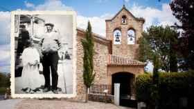 El tío Carolo, alcalde de Navarredonda durante la segunda república y el franquismo. De fondo, la ermita de San Mamés.