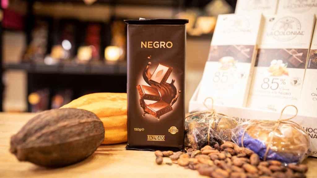 La tableta de chocolate negro de Hacendado, la marca blanca de Mercadona.