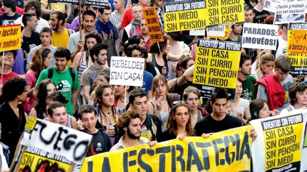 Juventud Sin Futuro, en la manifestación del 7 de abril de 2011.