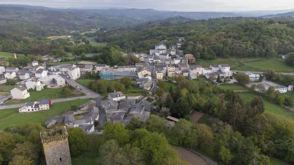 Vista aérea de Castroverde, un municipio de 2.595 habitantes situado en Lugo.