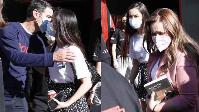 Julia Janeiro con sus padres a la salida de la grabación de 'El Desafío'.