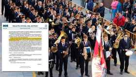 Una banda de música valenciana junto al recorte del BOE del pasado 6 de mayo.