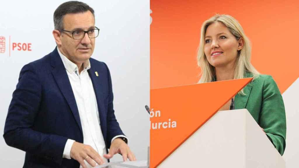 El secretario general del PSOE en la Región de Murcia, Diego Conesa, y la coordinadora de Cs en la Región de Murcia, Ana Martínez Vidal.