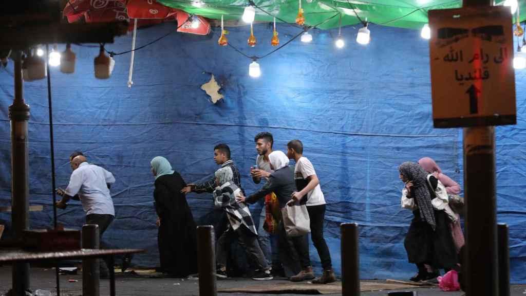 Un grupo de palestinos durante una de las protestas.