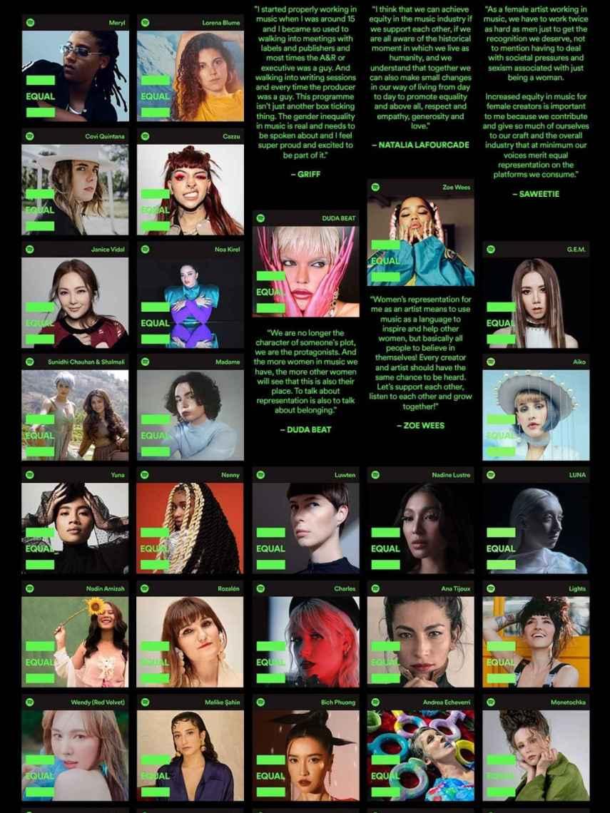 Las artistas que ocupan las portadas de EQUAL en distintos países. Rozalén, abajo, la segunda por la izquierda.