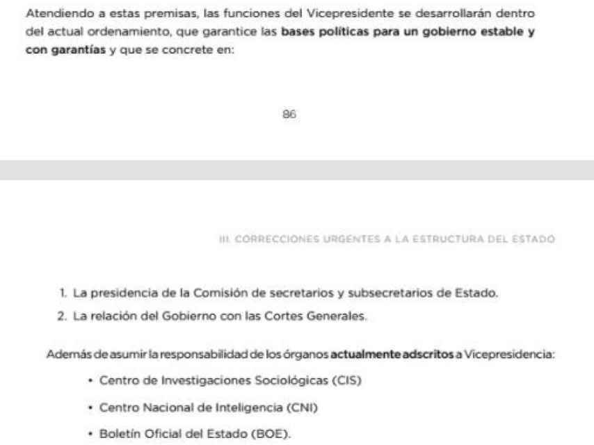 Documento de Podemos de 2016 para un gobierno de coalición con el PSOE./