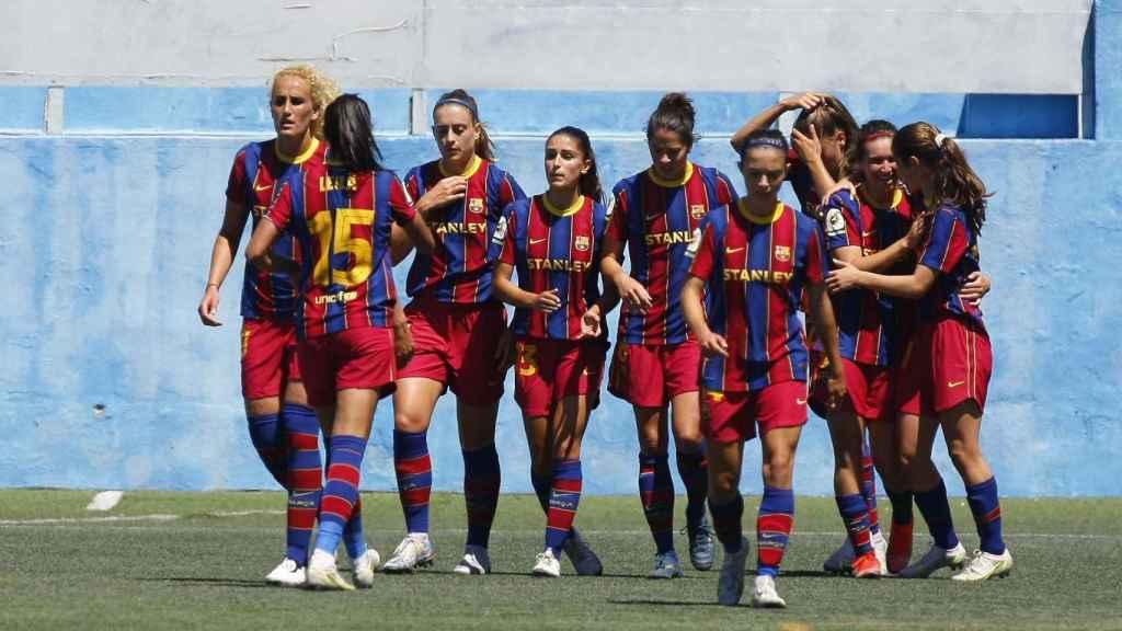 Las jugadoras del Barça Femenino celebran un gol frente al Granadilla Tenerife